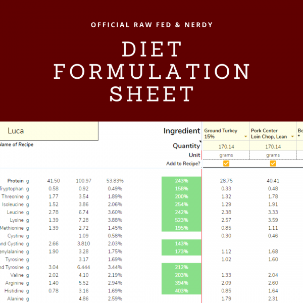 raw feeding spreadsheet